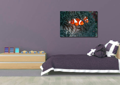 Clown Fish Canvas Wall Art Handcrafted – 24 x 36 inches (60 x 90 cm) – Unframed – Signed by Artist