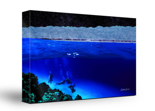 Underwater Divers Canvas Wall Art Handmade – 24 x 36 inches (60 x 90 cm) – Unframed – Signed by Artist