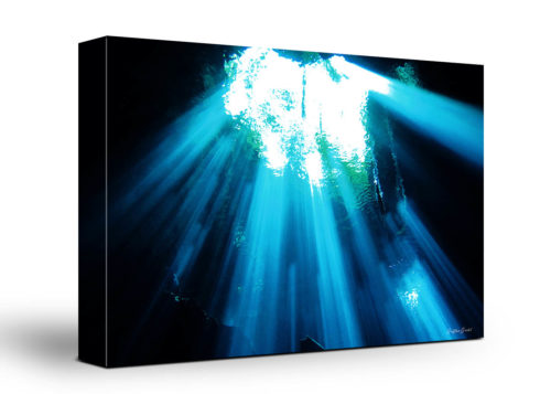 Underwater Cave Canvas Wall Art Handmade – 24 x 36 inches (60 x 90 cm) – Unframed – Signed by Artist