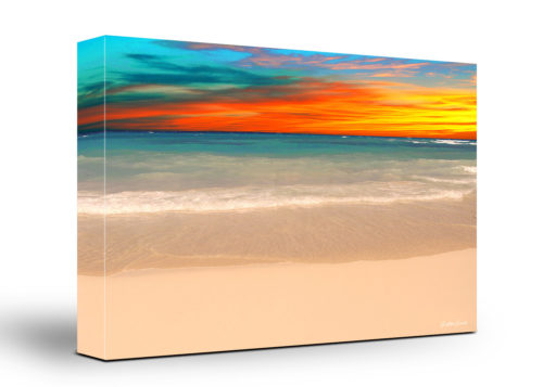 Caribbean Beach Canvas Wall Art Handmade – 24 x 36 inches (60 x 90 cm) – Unframed – Signed by Artist